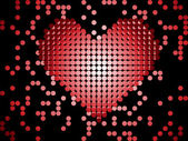 Shiny 3D Dots Red Heart. — Stock Vector