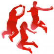 Silhouettes 3 Friends Jumping. — Stock Vector