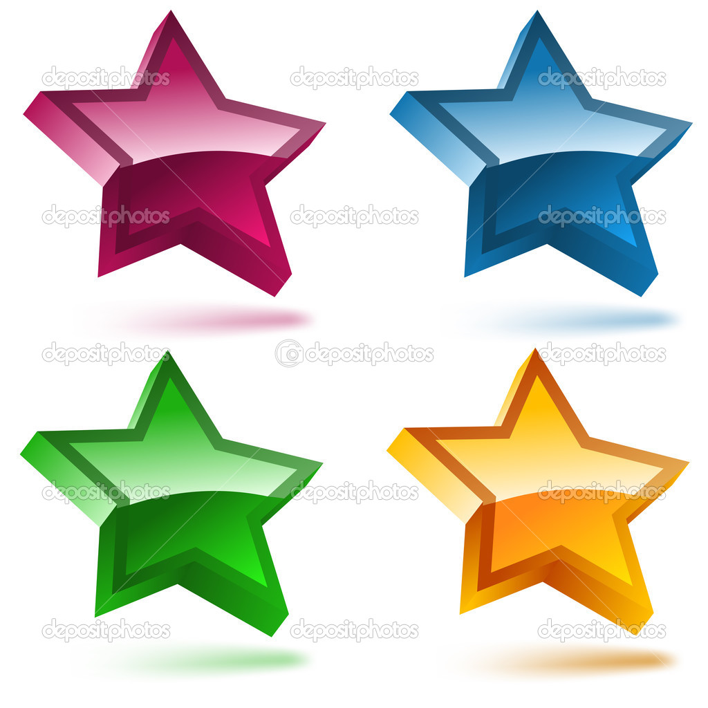Set of four 3D shiny stars. Editable Vector Image — Stock Vector #2291829