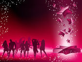 Party Crowd Dancing Star Pink Flyer — Stockvector