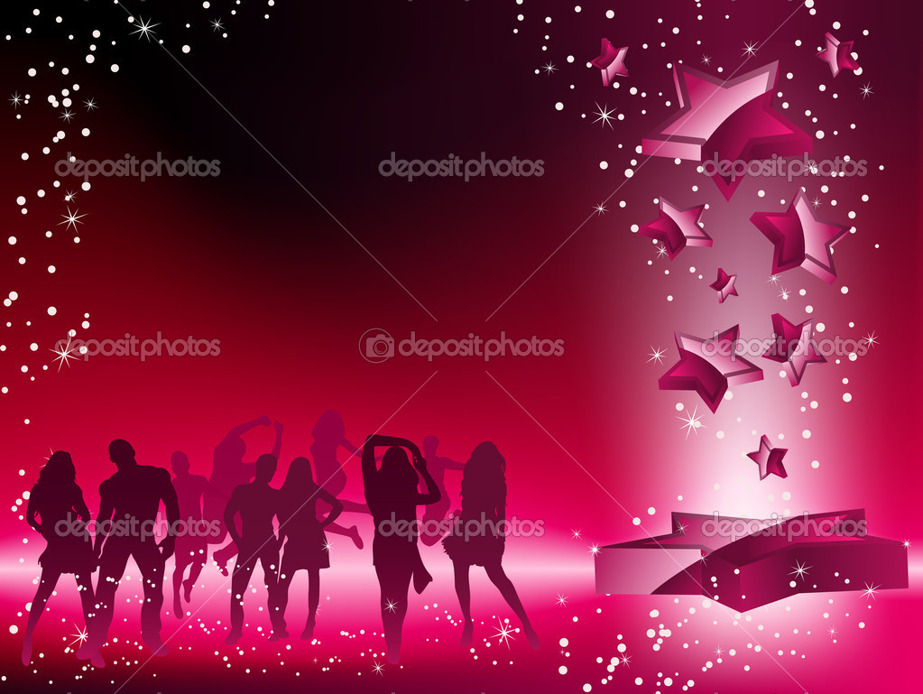 Party Crowd Dancing Star Pink Flyer. Editable Vector Image — Stok Vektör #2372954