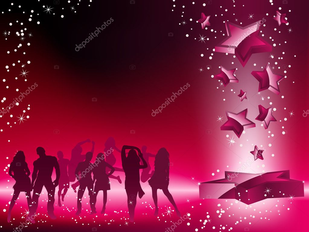 Party Crowd Dancing Star Pink Flyer. Editable Vector Image — Stock Vector #2372954