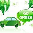 Go Green Ecology Car — Stok Vektör