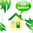 Go Green Glossy House. — ストックベクタ