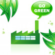 Go Green Glossy Factory. — Stock Vector
