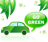 Go Green Ecology Car — Stock Vector