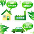 Ecology house, car and industry. - Stock Vector