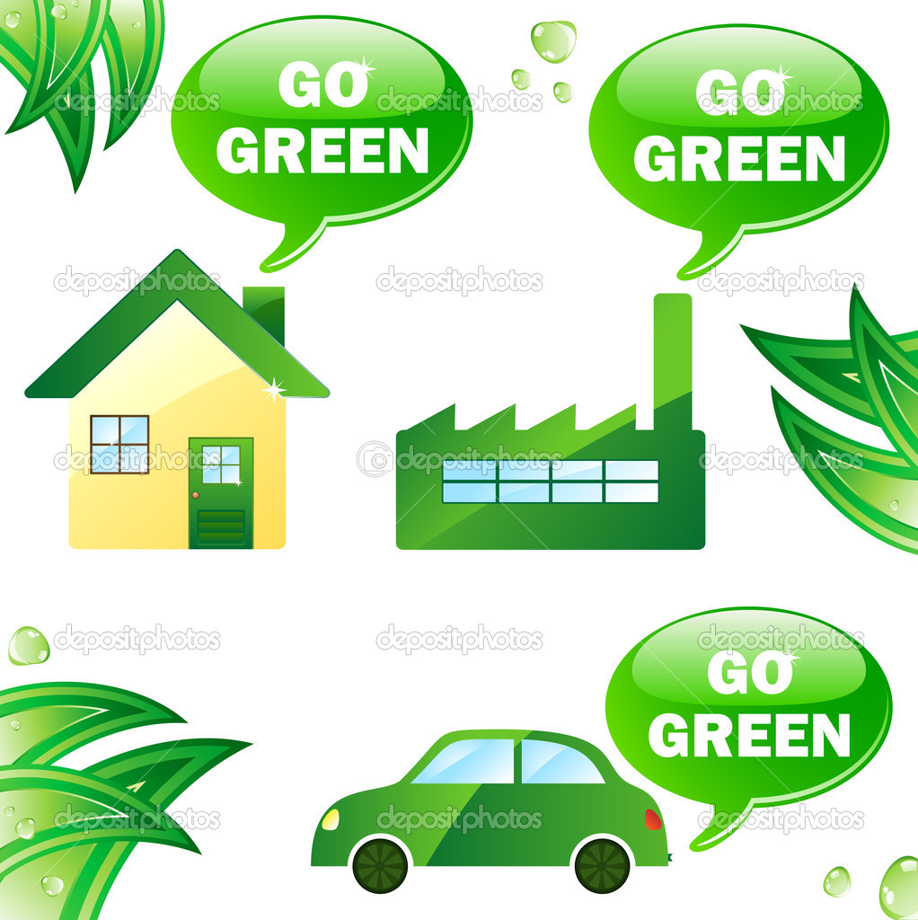 Ecology house, car and industry. Editable Vector Image  Stock Vector #2639557