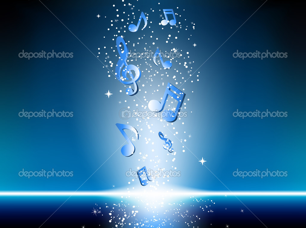 Blue background with music notes stock illustration