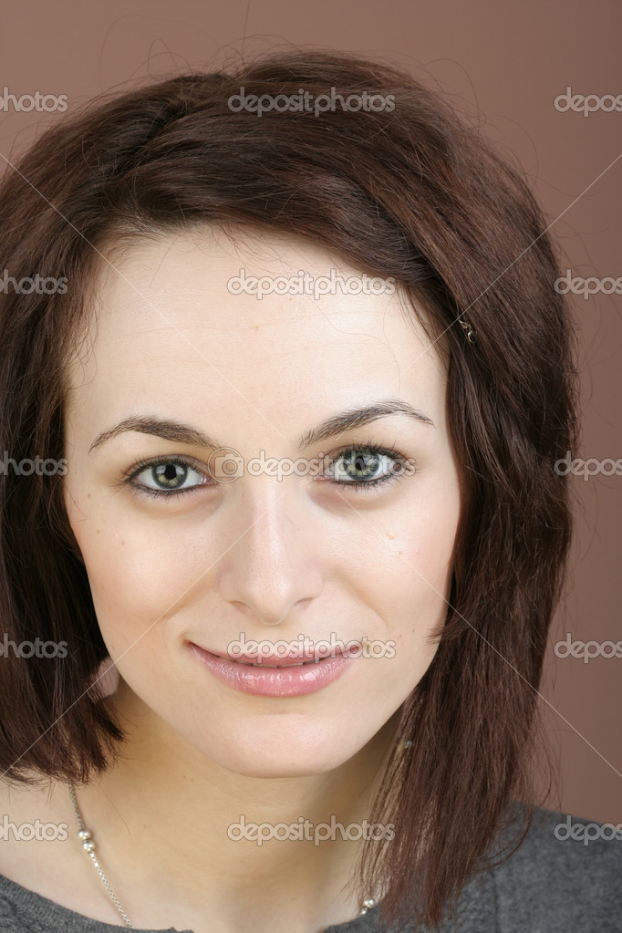 Portrait of a happy beautiful woman with green eyes. — Stock Photo #1997467