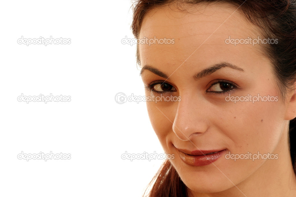 Close-up image of a girl's face. Isolated on white — Stock Photo #2001864