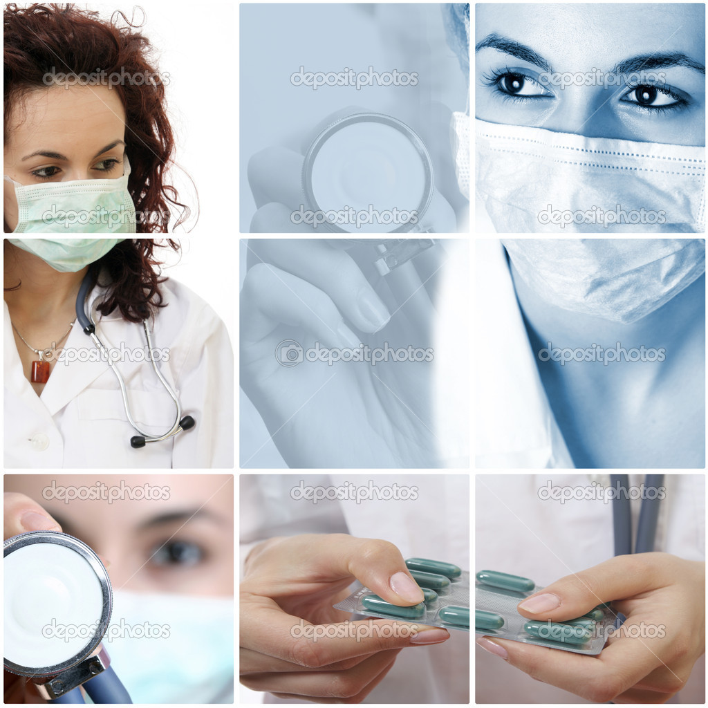 Professional young doctors at work. Collage. — Stock Photo #2034540