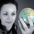 Globe in a girl's hands — Stock Photo #2236294