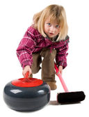 Young Girl Curling — Stock Photo