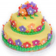 Spring Flower Cake on White - Stock Photo