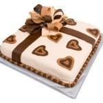 Fondant Gift Cake with Elaborate Ribbon — Stock Photo