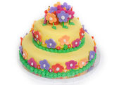 Spring Flower Cake on White — Stock Photo