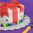 Fondant Gift Cake With Fork — Stockfoto #2127649