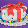 Colorful Fondant Gift Cake - Stock Photo