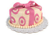 Polka Dot Ribbon Cake — Stockfoto