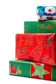 Stack of Colorful Wrapped Christmas Gift — Stock Photo
