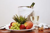 Fruit and Champagne — Stock Photo