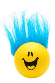 Happy Face with Blue Hair — Stock Photo