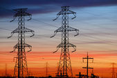 Electrical Towers with Colored Sky — Stock Photo