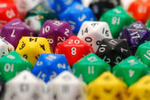 Red Twenty Sided Dice in Mixed Group — Stock Photo