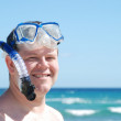 Man in Snorkel and Mask at Beach — Stock Photo