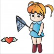 Royalty-Free Stock Vektorfiler: Cute girl with a butterfly net