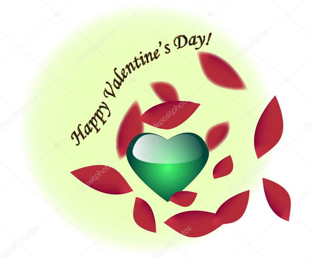 Green heart and red petals. Card for Valentines Day — Stock Vector #2147450