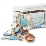 Beautiful box with beads — Stock Photo