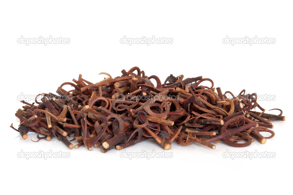 Uncaria stem with hooks, used in chinese herbal medicine, over white background. Gon Teng, Ramulus Uncariae Cum Uncis. — Stock fotografie #1982333