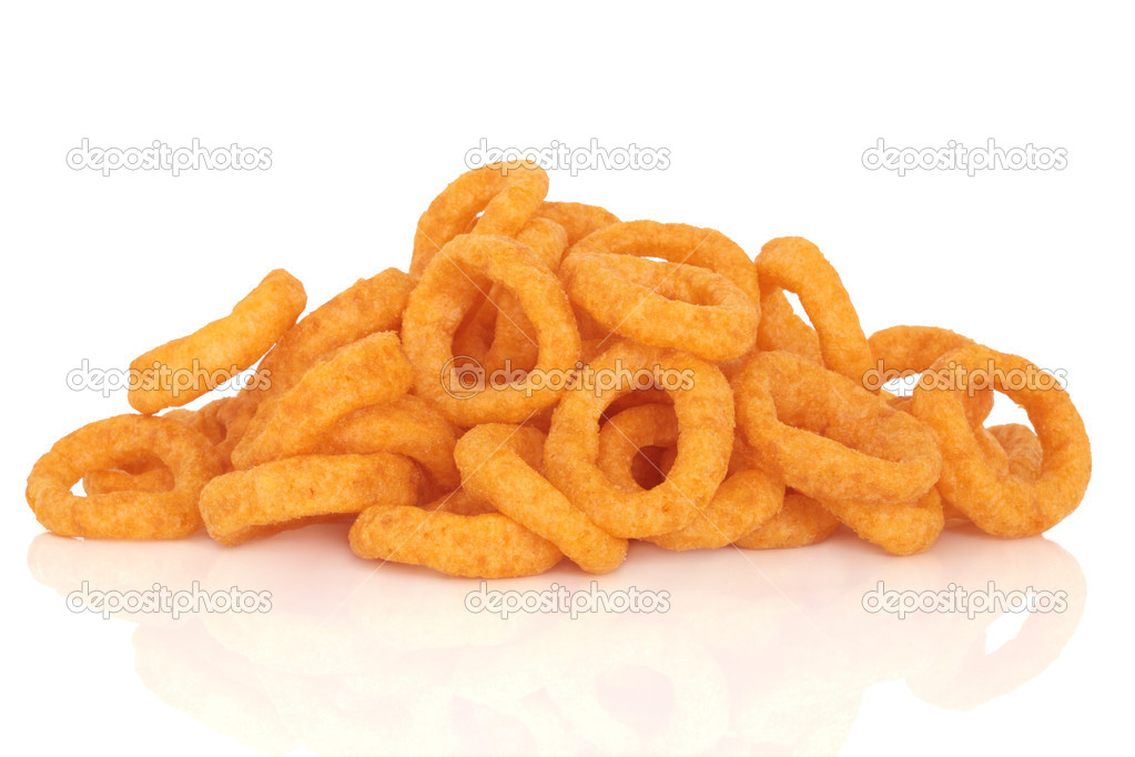 Onion rings, junk food snack, isolated over white background with reflection. — Stock Photo #1988086