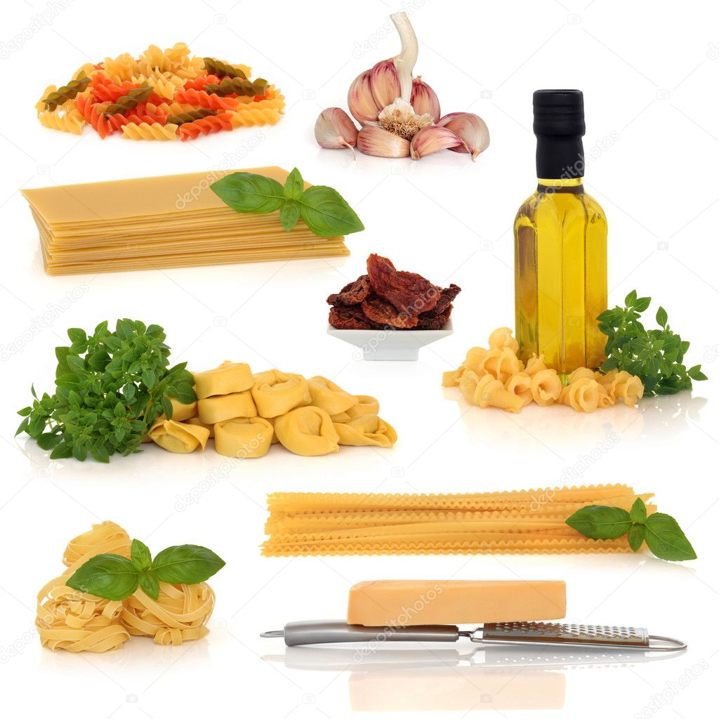 Italian food collection, isolated over white background.  Stock Photo #1999301
