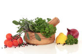 Herbs and Vegetable Selection — Stock Photo