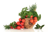 Tomato and Herb Leaf Selection — Stock Photo