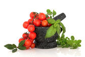 Herb Selection and Tomatoes — Stock Photo