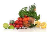Sélection d'herbes, de fruits et d'épices — Photo