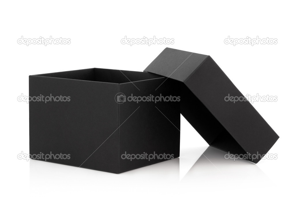 Black cardboard box with the lid off over white background with reflection. — Foto Stock #2582723