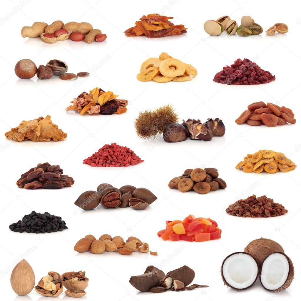 Healthy dried fruit and nut food collection isolated over white background.   Stock Photo #2615300