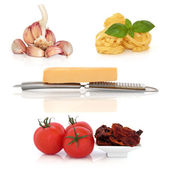 Italské těstoviny ingredience sampler — Stock fotografie