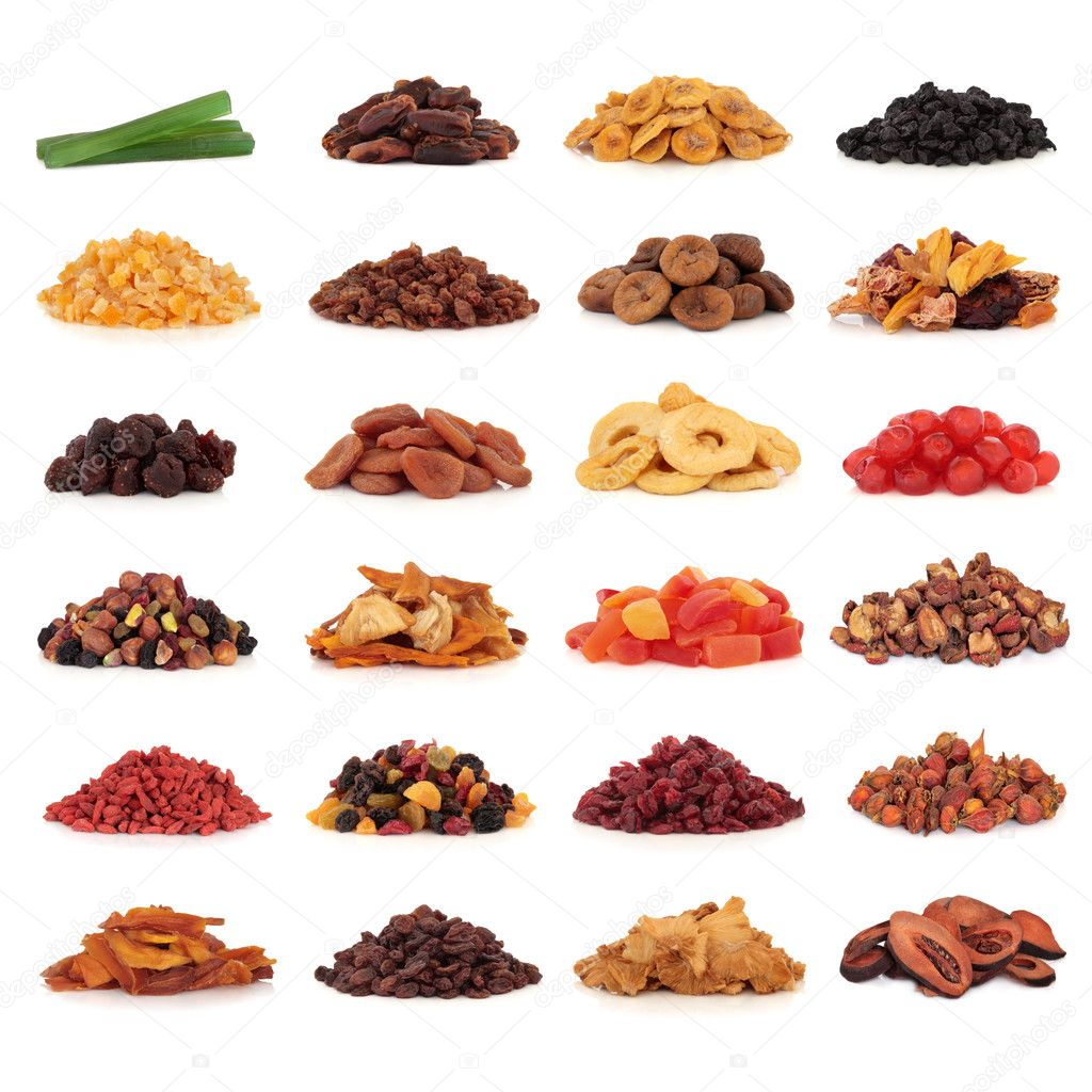 Large collection of dried and candied fruit for snacks and culinary use, isolated over white background.  Stock Photo #2659593