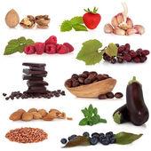 Zdravé potraviny sampler — Stock fotografie