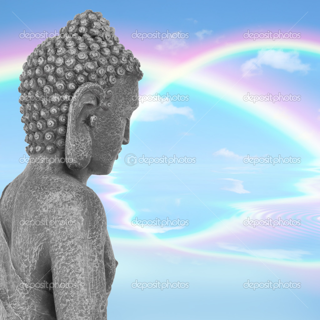 Buddha with eyes closed in prayer, with a blue sky and double rainbow in reflection in the distance, symbolising nirvana.  Side view. Mass produced statue. — Stock Photo #2660993