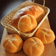 Bread rolls in basket — Stock Photo