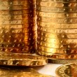 Gold coins macro - Stock Photo