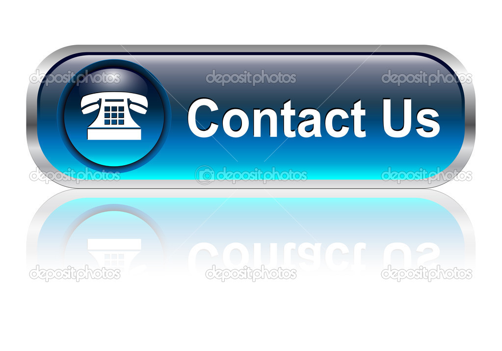 Contact us, telephone icon, button, blue glossy with shadow — Stock Vector #1982423