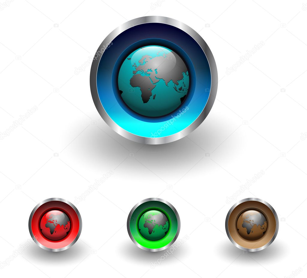 Multicolored web buttons with earth globe theme, vector illustration. — Stock Vector #1982540